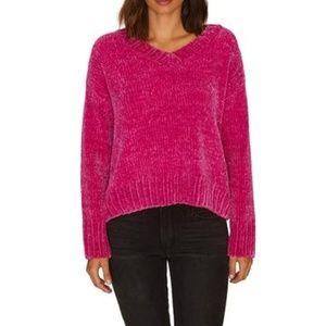 Sanctuary Chenille V-Neck Pullover Sweater Pink- M
